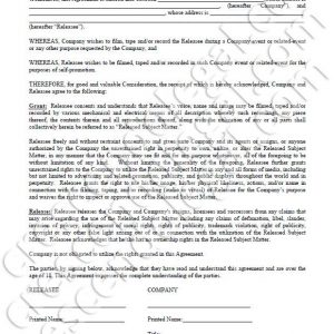 PDF: Filming Release Agreement